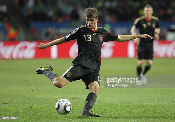 Thomas Mueller of Germany in action during the 2010 FIFA World Cup South Africa Third Place Playoff match between Uruguay and Germany at The Nelson...