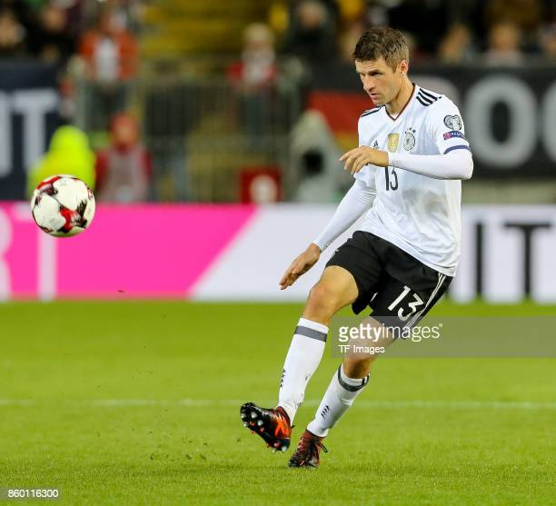Thomas Mueller of Germany in action during the FIFA 2018 World Cup Qualifier between Germany and Azerbaijan at FritzWalter Stadium on October 8 2017...