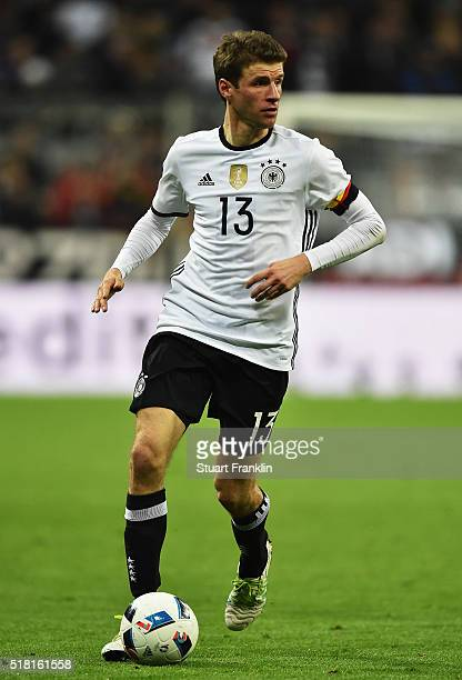 Thomas Mueller of Germany in action during the International Friendly match between Germany and Italy at Allianz Arena on March 29 2016 in Munich...