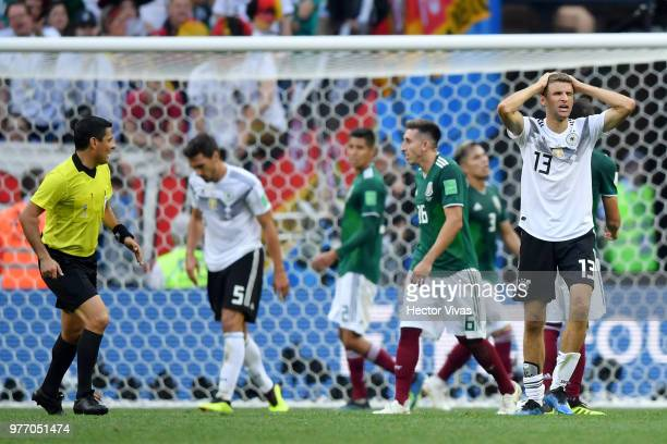 Thomas Mueller of Germany looks dejected following his sides defeat in the 2018 FIFA World Cup Russia group F match between Germany and Mexico at...