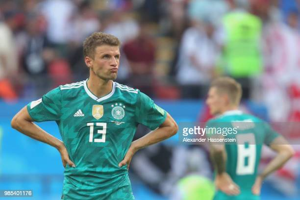 Thomas Mueller of Germany looks dejected following his sides defeat in the 2018 FIFA World Cup Russia group F match between Korea Republic and...