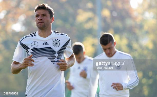 Thomas Mueller of Germany looks on during a training session of the German national team at Stadion auf dem Wurfplatz on October 10 2018 in Berlin...