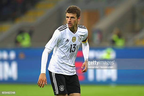 Thomas Mueller of Germany looks on during the International Friendly Match between Italy and Germany at Giuseppe Meazza Stadium on November 15 2016...