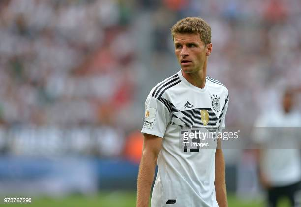 Thomas Mueller of Germany looks on during the international friendly match between Germany and Saudi Arabia at BayArena on June 8 2018 in Leverkusen...