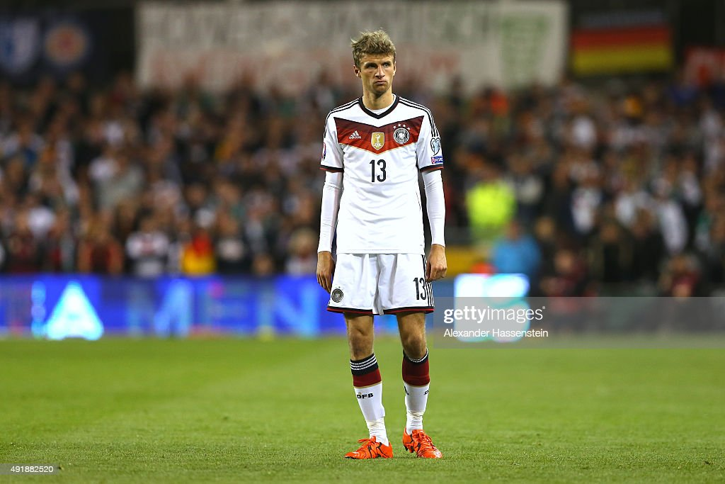Thomas Mueller of Germany looks on during the UEFA EURO 2016 Qualifier group D match between Republic of Ireland and Germany at the Aviva Stadium on October 8, 2015 in Dublin, Ireland.