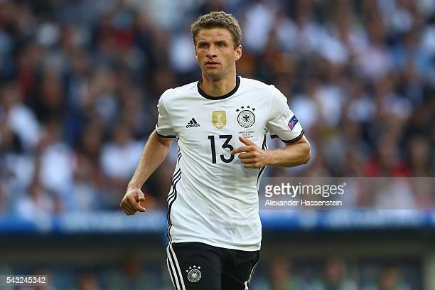 Thomas Mueller of Germany looks on during the UEFA EURO 2016 round of 16 match between Germany and Slovakia at Stade PierreMauroy on June 26 2016 in...