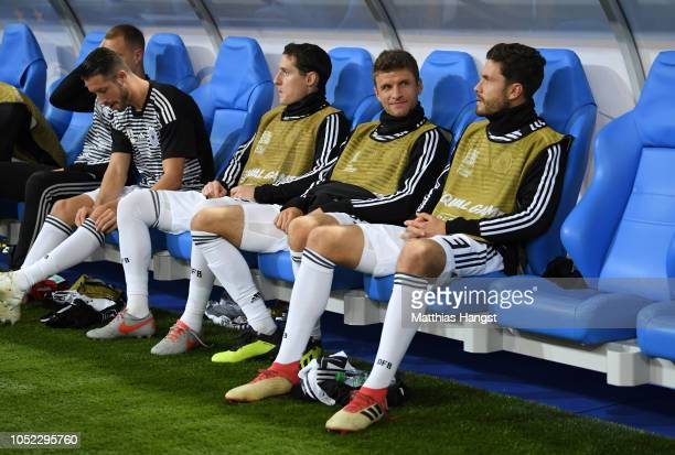 Thomas Mueller of Germany looks on from the bench prior to the UEFA Nations League A group one match between France and Germany at Stade de France on...