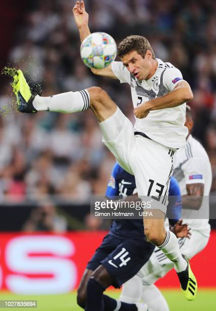 Thomas Mueller of Germany looks to control the ball during the UEFA Nations League Group A match between Germany and France at Allianz Arena on...