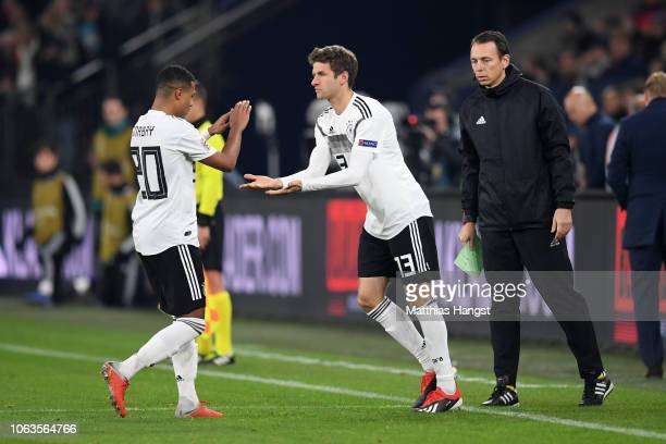 Thomas Mueller of Germany makes his 100th appearance for the German national team as he is substituted for Serge Gnabry of Germany during the UEFA...