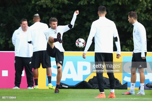 Thomas Mueller of Germany plays the ball during a team Germany training session at Kleine Kampfbahn Stadium on October 3 2017 in Frankfurt am Main...