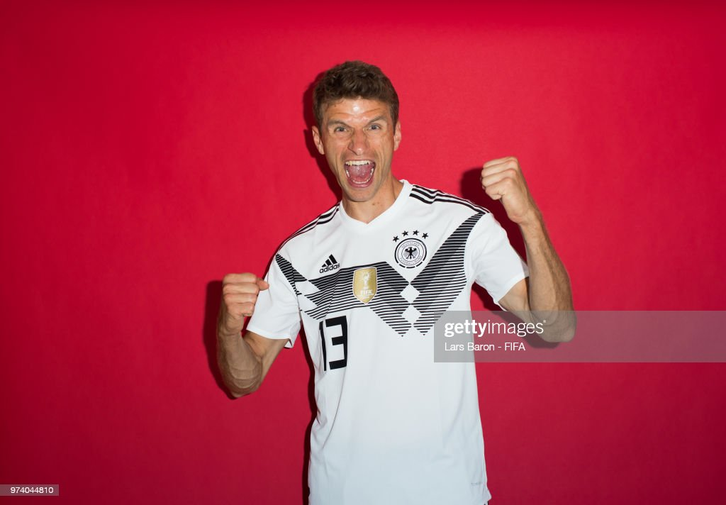 Thomas Mueller of Germany poses for a portrait during the official FIFA World Cup 2018 portrait session on June 13, 2018 in Moscow, Russia.