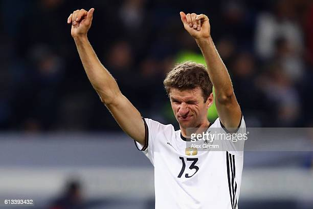 Thomas Mueller of Germany reacts after the FIFA World Cup 2018 qualifying match between Germany and Czech Republic at Volksparkstadion on October 8...