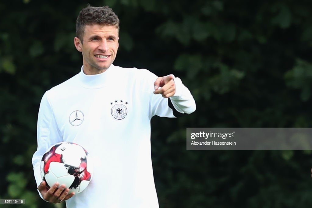 Thomas Mueller of Germany reacts during a team Germany training session at Kleine Kampfbahn Stadium on October 3, 2017 in Frankfurt am Main, Germany.