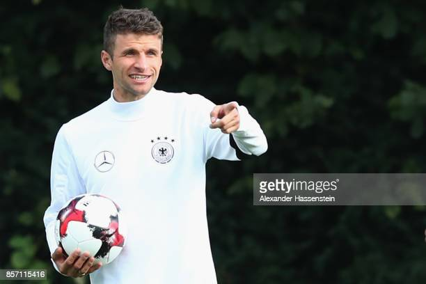 Thomas Mueller of Germany reacts during a team Germany training session at Kleine Kampfbahn Stadium on October 3 2017 in Frankfurt am Main Germany