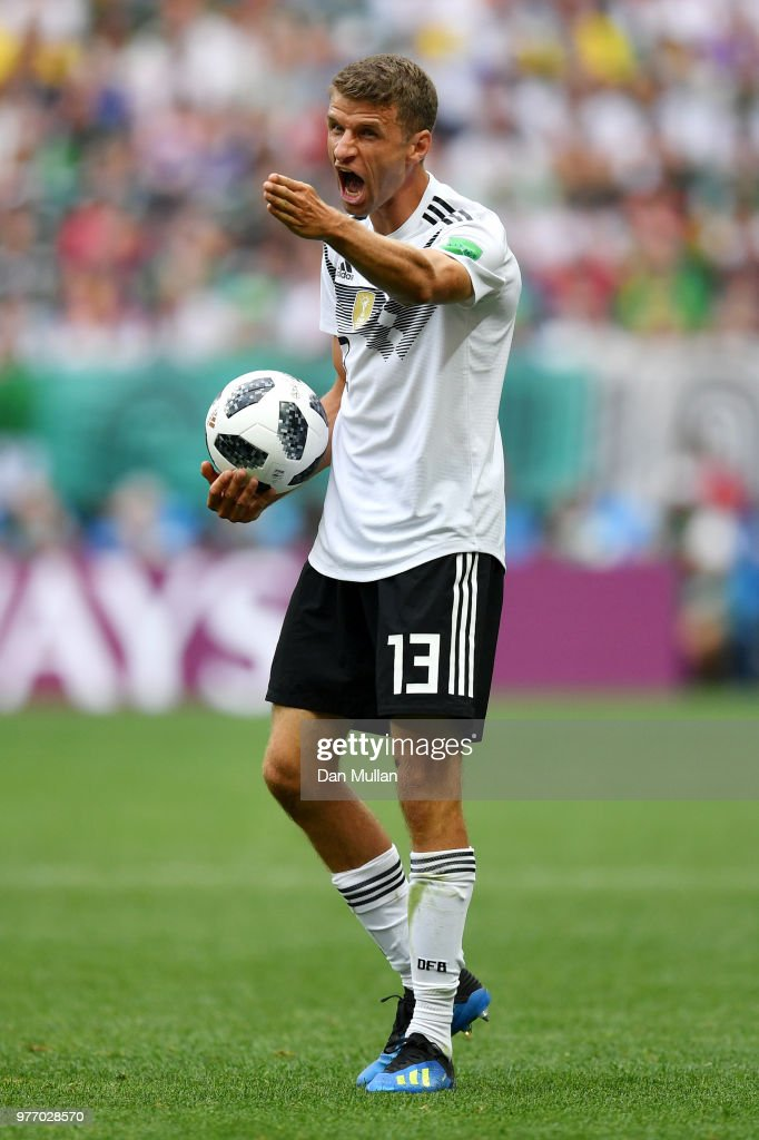 Thomas Mueller of Germany reacts during the 2018 FIFA World Cup Russia group F match between Germany and Mexico at Luzhniki Stadium on June 17, 2018 in Moscow, Russia.