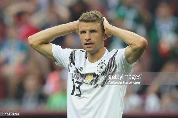 Thomas Mueller of Germany reacts during the 2018 FIFA World Cup Russia group F match between Germany and Mexico at Luzhniki Stadium on June 17 2018...