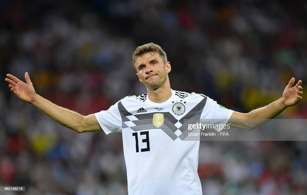 Thomas Mueller of Germany reacts during the 2018 FIFA World Cup Russia group F match between Germany and Sweden at Fisht Stadium on June 23, 2018 in Sochi, Russia.