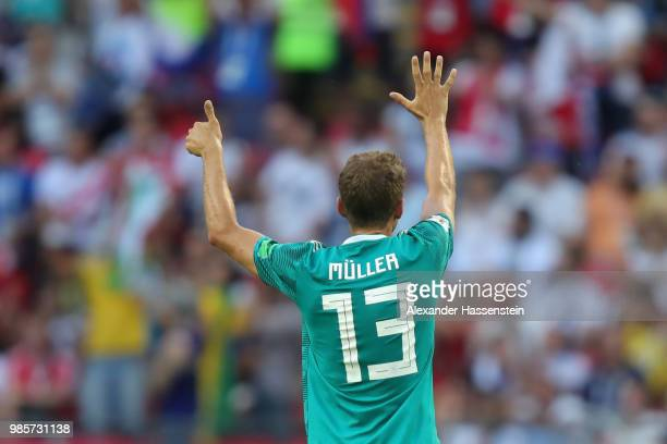 Thomas Mueller of Germany reacts during the 2018 FIFA World Cup Russia group F match between Korea Republic and Germany at Kazan Arena on June 27...