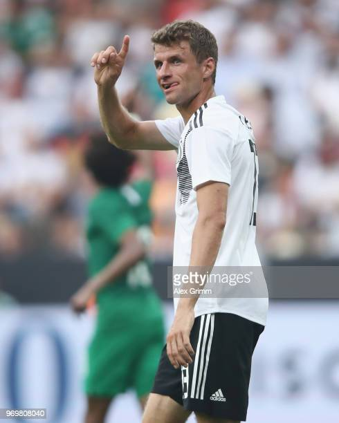 Thomas Mueller of Germany reacts during the international friendly match between Germany and Saudi Arabia ahead of the FIFA World Cup Russia 2018 at...