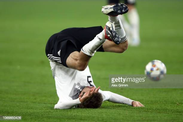 Thomas Mueller of Germany reacts during the UEFA Nations League A group one match between Germany and Netherlands at VeltinsArena on November 19 2018...