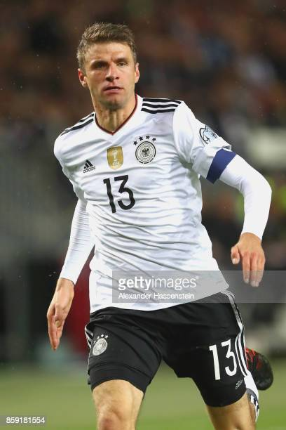 Thomas Mueller of Germany runs during the FIFA 2018 World Cup Qualifier between Germany and Azerbaijan at FritzWalterStadion on October 8 2017 in...