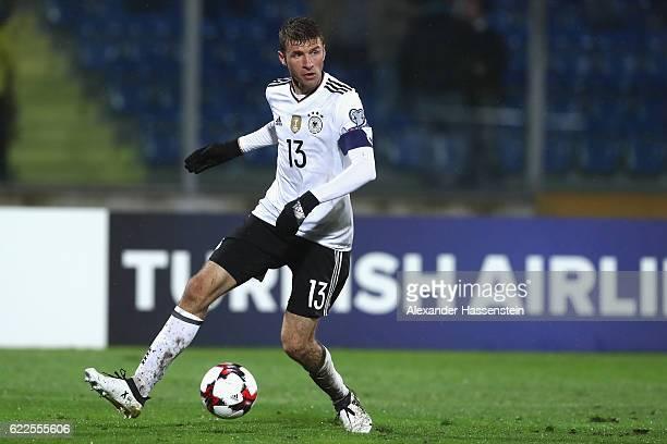 Thomas Mueller of Germany runs with the ball duirng the FIFA 2018 World Cup Qualifier between San Marino and Germany at Stadio Olimpico on November...
