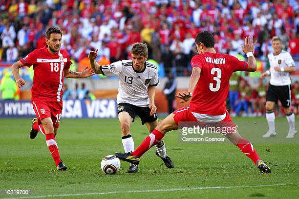 Thomas Mueller of Germany runs with the ball during the 2010 FIFA World Cup South Africa Group D match between Germany and Serbia at Nelson Mandela...
