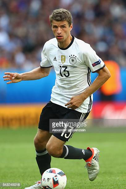 Thomas Mueller of Germany runs with the ball during the UEFA EURO 2016 round of 16 match between Germany and Slovakia at Stade PierreMauroy on June...