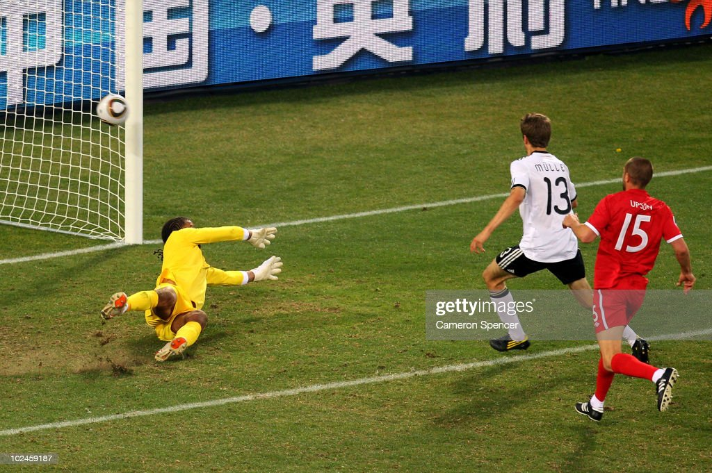 Thomas Mueller of Germany scores his side's fourth goal past David James of England during the 2010 FIFA World Cup South Africa Round of Sixteen match between Germany and England at Free State Stadium on June 27, 2010 in Bloemfontein, South Africa.