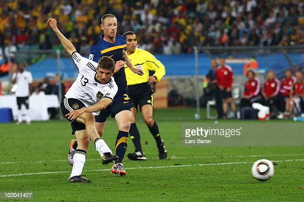 Thomas Mueller of Germany scores his side's third goal during the 2010 FIFA World Cup South Africa Group D match between Germany and Australia at...