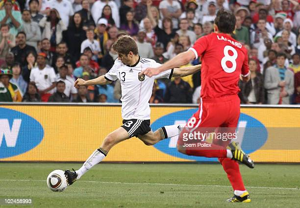 Thomas Mueller of Germany scores his teams fourth goal during the 2010 FIFA World Cup South Africa Round of Sixteen match between Germany and England...