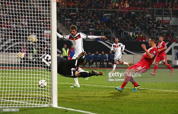 Thomas Mueller of Germany scores his team's second goal during the EURO 2016 Group D Qualifier match between Germany and Gibraltar at Grundig Stadion...