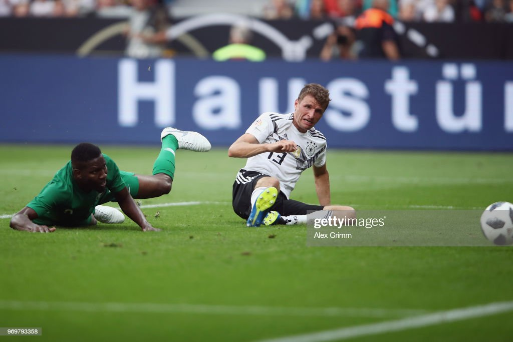 Thomas Mueller of Germany scores his team's second goal during the international friendly match between Germany and Saudi Arabia ahead of the FIFA World Cup Russia 2018 at BayArena on June 8, 2018 in Leverkusen, Germany.