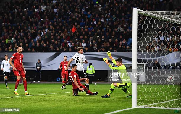 Thomas Mueller of Germany scores the third goal during the 2018 FIFA World Cup Qualifier match between Germany and Czech Republic at Volksparkstadion...
