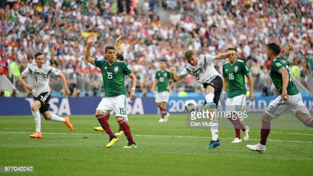 Thomas Mueller of Germany shoots during the 2018 FIFA World Cup Russia group F match between Germany and Mexico at Luzhniki Stadium on June 17 2018...