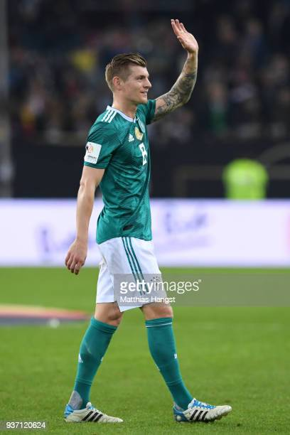Thomas Mueller of Germany shows appreciation to the fans after the International friendly match between Germany and Spain at EspritArena on March 23...
