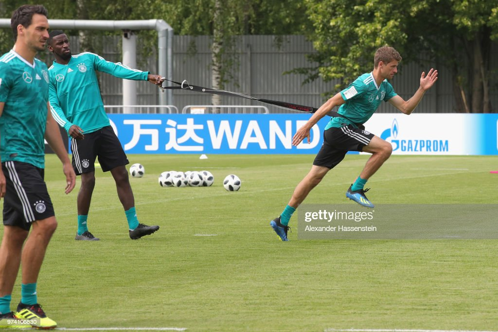 Thomas Mueller of Germany trains with Antonio Ruediger (L) during the Germany training session ahead of the 2018 FIFA World Cup at CSKA Sports Base on June 14, 2018 in Moscow, Russia.