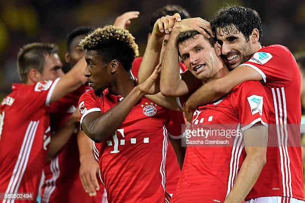 Thomas Mueller of Muenchen celebrates after scoring his team's second goal during the DFL Supercup 2016 match between Borussia Dortmund and FC Bayern...