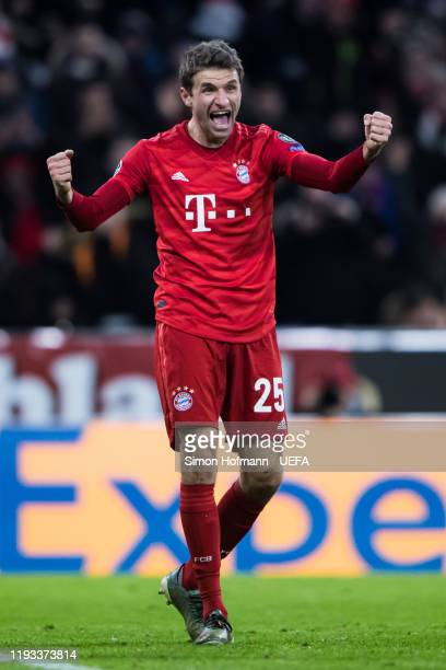 Thomas Mueller of Muenchen celebrates his team's second goal during the UEFA Champions League group B match between Bayern Muenchen and Tottenham...