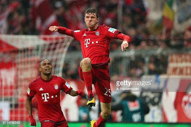 Thomas Mueller of Muenchen celebrates scoring the 2nd team goal during the Bundesliga match between FC Bayern Muenchen and SV Darmstadt 98 at Allianz...