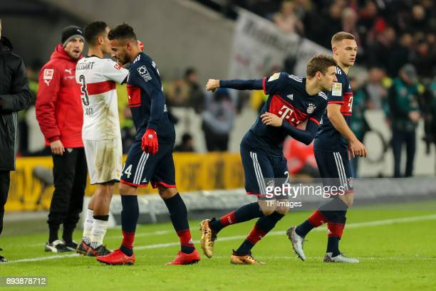 Thomas Mueller of Muenchen comes on as a substitute for Corentin Tolisso of Muenchen during the Bundesliga match between VfB Stuttgart and FC Bayern...