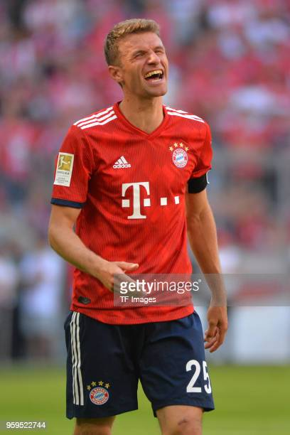 Thomas Mueller of Muenchen laughs during the Bundesliga match between FC Bayern Muenchen and VfB Stuttgart at Allianz Arena on May 12 2018 in Munich...