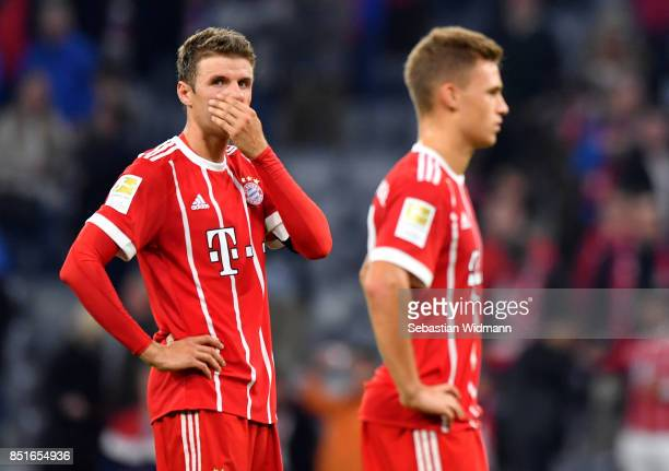 Thomas Mueller of Muenchen looks dejected after the Bundesliga match between FC Bayern Muenchen and VfL Wolfsburg at Allianz Arena on September 22...