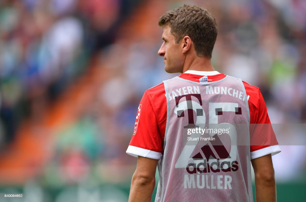 Thomas Müller has been left out of Bayern's starting eleven against Werder Bremen. (Photo by Stuart Franklin/Bongarts/Getty Images)