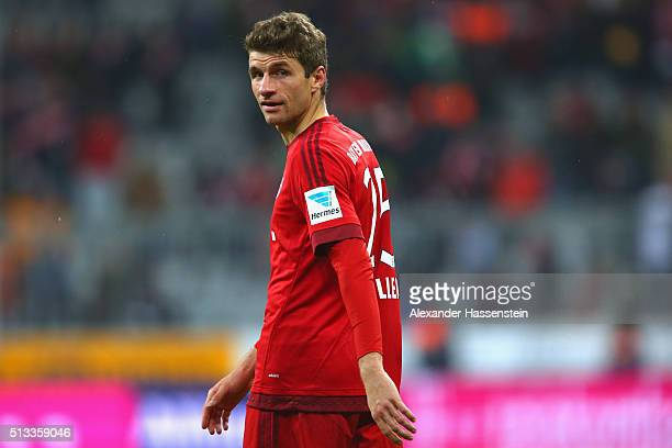 Thomas Mueller of Muenchen reacts after the Bundesliga match between FC Bayern Muenchen and 1 FSV Mainz 05 at Allianz Arena on March 2 2016 in Munich...