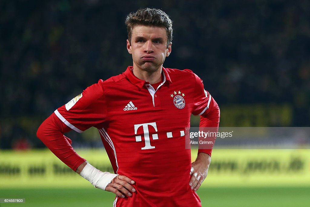 Thomas Mueller of Muenchen reacts after the Bundesliga match between Borussia Dortmund and Bayern Muenchen at Signal Iduna Park on November 19, 2016 in Dortmund, Germany.