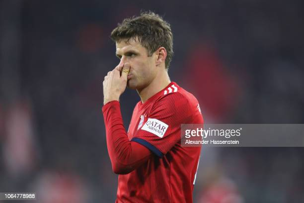 Thomas Mueller of Muenchen reacts during the Bundesliga match between FC Bayern Muenchen and Fortuna Duesseldorf at Allianz Arena on November 24 2018...