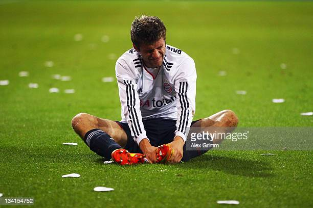 Thomas Mueller of Muenchen reacts during the Bundesliga match between FSV Mainz 05 and FC Bayern Muenchen at Coface Arena on November 27 2011 in...
