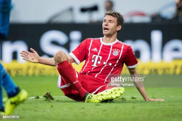 Thomas Mueller of Muenchen reacts during the Bundesliga match between TSG 1899 Hoffenheim and FC Bayern Muenchen at Wirsol RheinNeckarArena on...