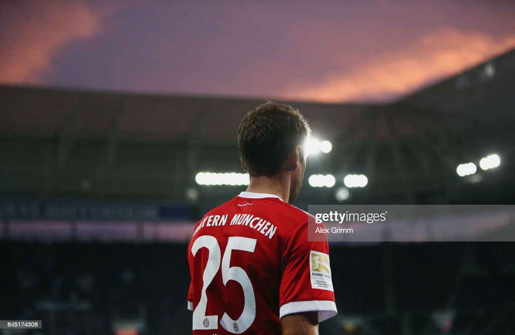Thomas Mueller of Muenchen reacts during the Bundesliga match between TSG 1899 Hoffenheim and FC Bayern Muenchen at Wirsol Rhein-Neckar-Arena on September 9, 2017 in Sinsheim, Germany.